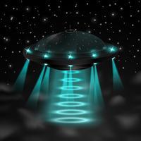 Fliegendes UFO in der Nacht vektor