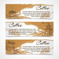 Horisontella retro kaffeset banderoller vektor