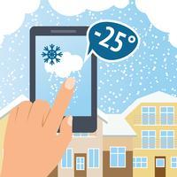 Väder smart telefon snö vektor
