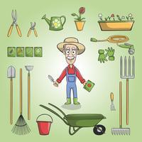Glad trädgårdsmästare charactor uppsättning