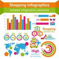 Shopping infografiskt set vektor
