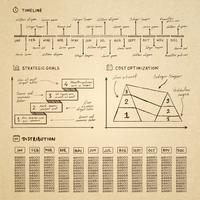 Doodle Infografiken Elemente für Business-Präsentation vektor