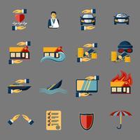 Versicherungssicherheit Icons Set