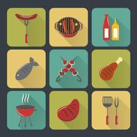 Bbq grill ikoner platt set