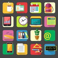 Kontor kontorspapper ikoner uppsättning