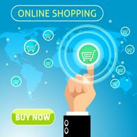 Köp nu online shoppingkoncept vektor