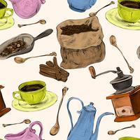 Kaffeset sömlöst färgat mönster vektor