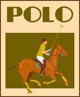 Polo spelare på hästaffisch vektor