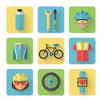 Cykel platt ikoner Set vektor