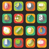Mat platta ikoner vektor