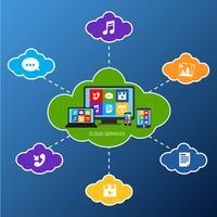 Mobile Cloud-Dienste flach vektor