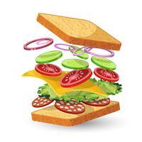 Salami sandwich ingrediens emblem vektor