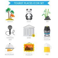Gebäude-Tourismus-Ikonen flach vektor