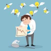 Affärsman olycklig med aktiehandel