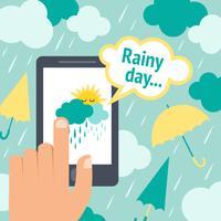 Väder smart telefonregn vektor