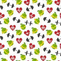 Fitness symboler sömlöst mönster vektor