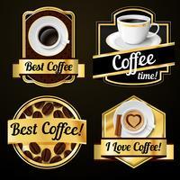 Kaffee-Etiketten gesetzt