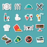 Restaurang ikoner klistermärken vektor