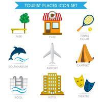 Bygga turism ikoner platt vektor