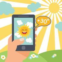Väder smart telefon sol vektor