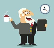 Boss med tablett och kaffe