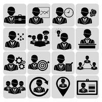 Geschäfts- und Managementikonen schwarz vektor