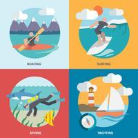 Vattensporter ikoner ställs platt