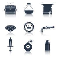 Spelresurser ikoner svart vektor