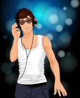 Man hörlurar musik