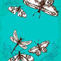 Fjärilar och sländor bakgrund vektor