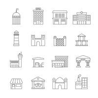 Regeringsbyggnader Ikoner vektor