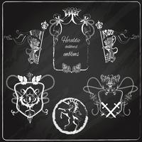 Heraldische Embleme gesetzt