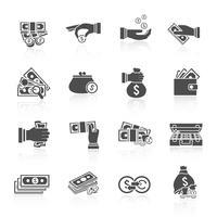 Pengar ikon svart