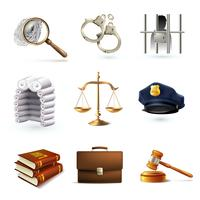 Lagliga juridiska ikoner vektor