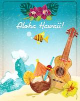 Hawaii gitarr semesteraffisch vektor