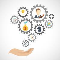 Geschäftsstrategie-Planungsikone flach vektor