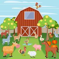 Bauernhof mit Tieren vektor