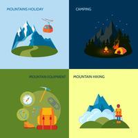 Camping ikoner ställs platt