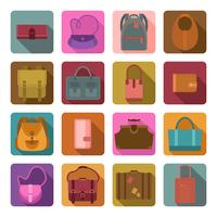 Väskor färgade plana ikoner uppsättning