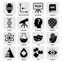 Symbole für Wissenschaftsbereiche schwarz