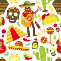 Mexiko sömlöst mönster vektor