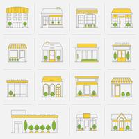Förvara byggnadssymboler som är fasta linjer vektor