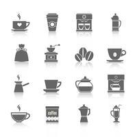 Kaffeeikonen schwarz vektor
