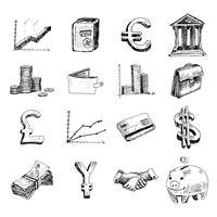 Finans ikoner sätta skiss