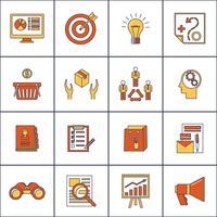 Marknadsförare platt linje ikoner uppsättning