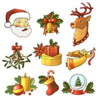 Jul ikoner färgad uppsättning