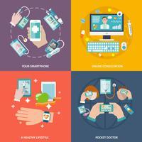 Digital hälsa ikoner ställa platt