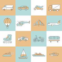 Transport ikoner platt linjesats