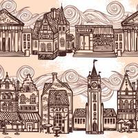 Sketch City sömlös gräns svart och vitt vektor