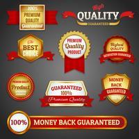 Goldene Qualitätsetiketten gesetzt vektor